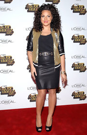 Marsha Ambrosius paired a black pencil skirt with a glittery track jacket for a sporty-chic finish during the 2012 Soul Train Awards.