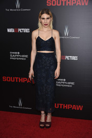 Zosia Mamet showed some abs and cleavage in a floral-patterned midnight-blue Houghton crop-top during the New York premiere of 'Southpaw.'