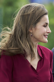Queen Letizia of Spain attended the 25th anniversary of the National Center of Food Safety and Technology wearing a pair of dangling garnet earrings.