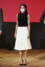 Queen Letizia of Spain kept it minimal in a sleeveless mock-neck knit top at the IFEMA new brand and strategy presentation.