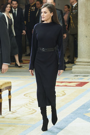 Queen Letizia of Spain kept it simple yet stylish in a black boatneck sweater dress by COS at the Premios Nacionales de Investigacion 2019.