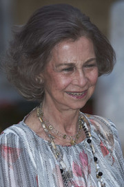 Queen Sofia wore her usual bob while attending a reception at Almudaina Palace.