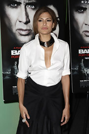 This '1980's Black Necklace' is the perfect complement to Eva's Donna Karan white blouse.
