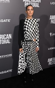 Jennifer Connelly looked funky in her polka-dot and checkered Louis Vuitton dress at the special screening of 'American Pastoral.'