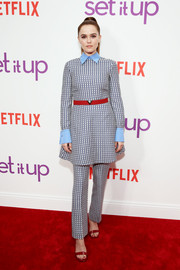 Zoey Deutch went for retro cuteness in a Valentino print dress with a contrast collar and cuffs at the special screening of 'Set It Up.'