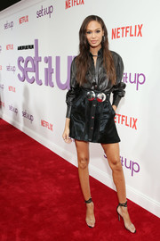 Joan Smalls rounded out her look with a pair of PVC ankle-tie sandals by Manolo Blahnik.