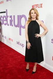 Lea Thompson went for a classic black halter dress when she attended the special screening of 'Set It Up.'