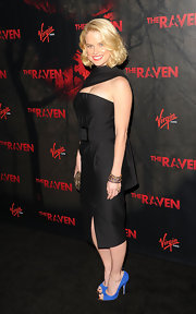 Alice Eve hit the red carpet at a screening for 'The Raven' wearing a pair of bright blue suede peep toe pumps.