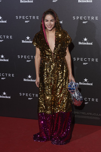 Cosima Ramirez stole the spotlight in a mega-sparkly, hooded color-block gown during the Madrid premiere of 'Spectre.'