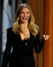 Cameron Diaz attended the Spike TV Guys Choice Awards wearing small gold Pyramid Hoop earrings in 18-karat gold plated.