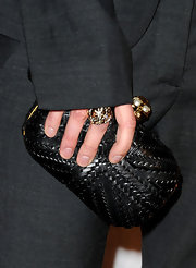 Lena Headey attended the Scream 2011 Awards carrying a textured black hard-case clutch.
