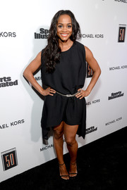 Rachel Lindsay opted for a loose LBD, which she cinched in with a chain belt, when she attended the Sports Illustrated 2017 Fashionable 50 celebration.