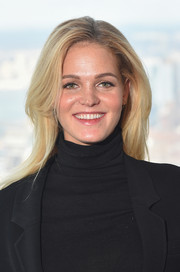 Erin Heatherton wore her hair down in a bouncy, center-parted style during the Sports Illustrated Swimsuit press conference.