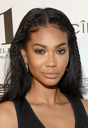 Chanel Iman styled her hair with partial braids for the Sports Illustrated Swim BBQ.