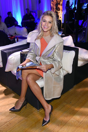 Kelly Rohrbach attended the Sports Illustrated Swim City event looking fab in a metallic silver coat.