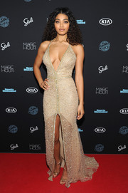Danielle Herrington brought a heavy dose of sexy glamour to the Sports Illustrated Swimsuit 2018 launch event with this fully beaded halter gown by Galia Lahav.