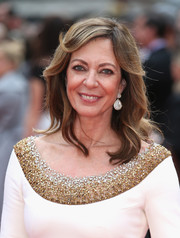 Allison Janney wore her hair down with gentle waves and side-swept bangs during the UK premiere of 'Spy.'
