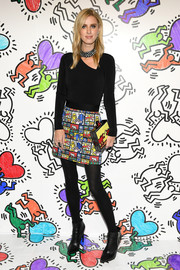 Nicky Hilton Rothschild rocked a black Alice + Olivia bodysuit with crystal choker detail at the launch of Keith Haring x Alice + Olivia.