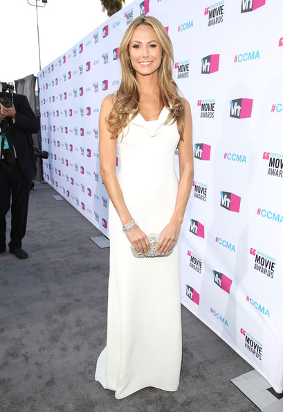 Stacy Keibler Evening Dress [red carpet,clothing,dress,red carpet,fashion,premiere,hairstyle,beauty,flooring,blond,carpet,stacy keibler,critics choice movie awards,california,los angeles,the hollywood palladium]