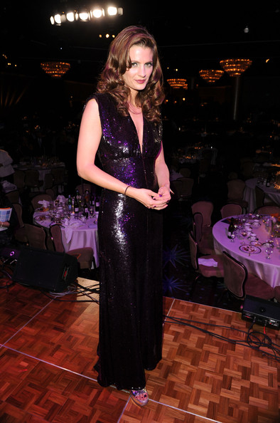 Stana Katic Beaded Dress [a night at sardis,clothing,purple,dress,fashion,formal wear,event,gown,fashion design,haute couture,long hair,stana katic,awards,beverly hilton hotel,california,beverly hills,alzheimers association,dinner,fundraiser]