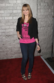 Debby Ryan completed her denim jeans with a cropped blazer.