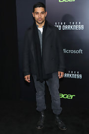 Wilmer Valderrama opted for a totally preppy look at the 'Star Trek Into Darkness' screening when he wore this black pea coat and jeans.