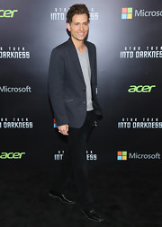 Peter Cincottie dressed up his jeans with a fitted navy blazer at the NYC screening of 'Star Trek Into Darkness.'