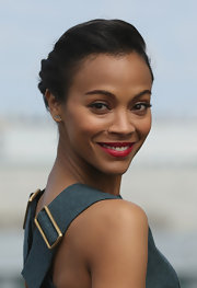 Zoe Saldana chose this elegantly braided updo for her chic look at the 'Star Trek Into Darkness' photocall in Berlin.