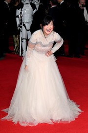 Kelly Marie Tran looked enchanting in a cream-colored Bibhu Mohapatra gown featuring a beaded bodice and a voluminous tulle skirt at the European premiere of 'Star Wars: The Last Jedi.'