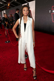 Storm Reid teamed her suit with black patent sandals by Via Spiga.