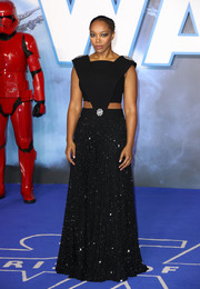 Naomi Ackie was a cosmic beauty in a black Christopher Kane cutout gown with a sparkling skirt at the European premiere of 'Star Wars: The Rise of Skywalker.'