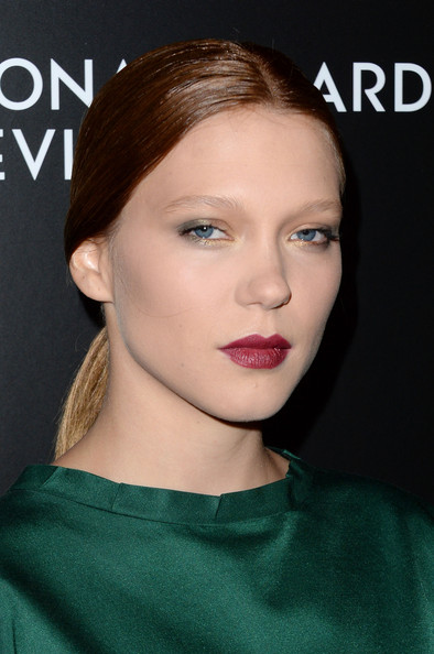 More Pics of Lea Seydoux Berry Lipstick (1 of 3) - Makeup Lookbook - StyleBistro [hair,face,lip,eyebrow,hairstyle,chin,beauty,cheek,skin,shoulder,lea seydoux,stars,new york city,cipriani 42nd street,national board of review awards gala,national board of review awards gala]