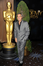George Clooney looked sharp in this metallic suit for the Oscar nomination lunch.