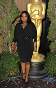 Octavia Spencer looked elegant in this draped knit dress for the Oscar Nomination Lunch.