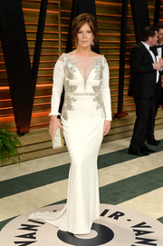 Marcia Gay Harden looked impeccable at the Vanity Fair Oscar party in a white gown with silver beading on the bodice.