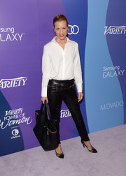 Maria Bello kept it classic, with a hint of edginess, in black leather skinnies and a white button-down at the Variety Power of Women event.
