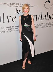 Cate Blanchett looked artsy in this black and white cocktail dress at the Ever Changing Face of Beauty event.