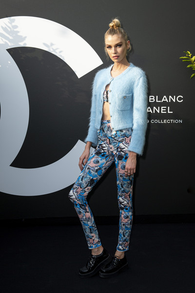 Stella Maxwell Leather Lace-ups [jeans,clothing,denim,blue,fashion,beauty,leggings,footwear,tights,trousers,stella maxwell,noir et blanc de chanel - fall-winter 2019 makeup collection - yachts de paris,winter 2019 makeup collection - yachts de paris,paris,france,noir et blanc de chanel fall]