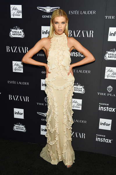 Stella Maxwell Evening Dress [clothing,dress,shoulder,carpet,hairstyle,fashion model,fashion,premiere,joint,gown,carine roitfeld,estee lauder,stella artois - arrivals,icons,plaza hotel,harpers bazaar celebrates,saks fifth avenue,fujifilm instax,genesis,infor]