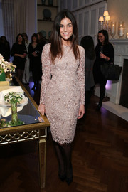 Julia Restoin-Roitfeld kept it demure and ladylike in a nude lace sheath when she attended the Stella McCartney presentation.