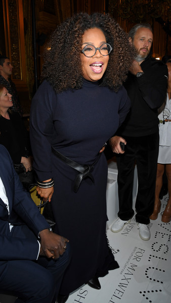 Oprah Winfrey attended the Stella McCartney Fall 2019 show wearing a simply maxi sweater dress.