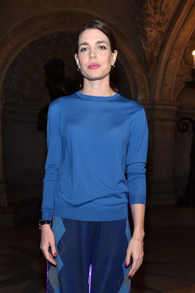 Charlotte Casiraghi opted for a low-key look with this blue Stella McCartney sweater when she attended the brand's fashion show.