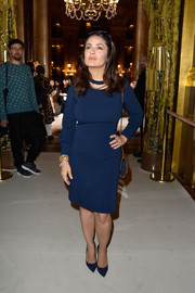 Salma Hayek opted for a simple navy sheath dress by Stella McCartney when she attended the label's fashion show.