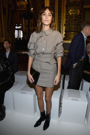 Alexa Chung was all business in this micro-print mini dress by Stella McCartney during the brand's fashion show.
