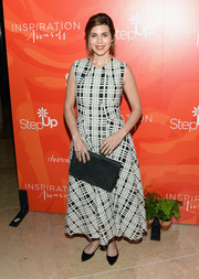 Jamie-Lynn Sigler kept it conservative in an ankle-length monochrome plaid dress at the Inspiration Awards.