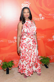 Garcelle Beauvais looked very summery in a floral ruffle dress while attending the Inspiration Awards.