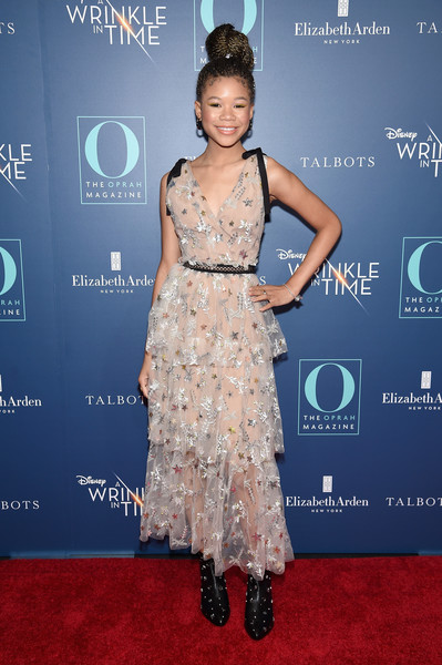 Storm Reid Embroidered Dress [o the oprah magazine hosts special nyc screening of ``a wrinkle in time,a wrinkle in time,clothing,dress,carpet,red carpet,hairstyle,fashion,fashion model,premiere,cocktail dress,flooring,storm reid,nyc,walter reade theater,screening]