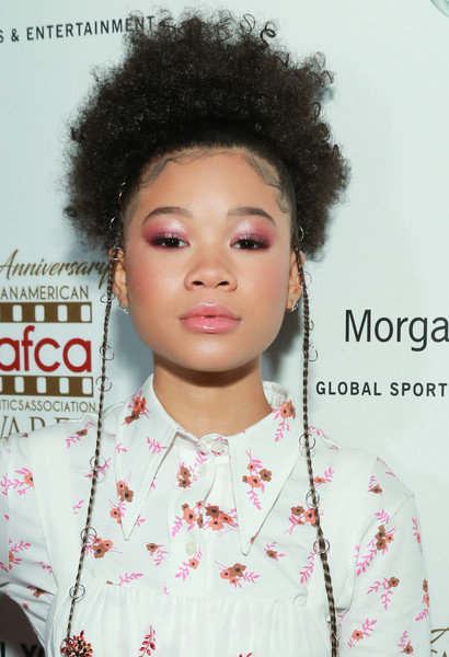 Storm Reid Afro [hair,face,hairstyle,eyebrow,lip,black hair,afro,beauty,jheri curl,forehead,arrivals,storm reid,aafca awards,annual aafca awards,taglyan complex,los angeles,california]