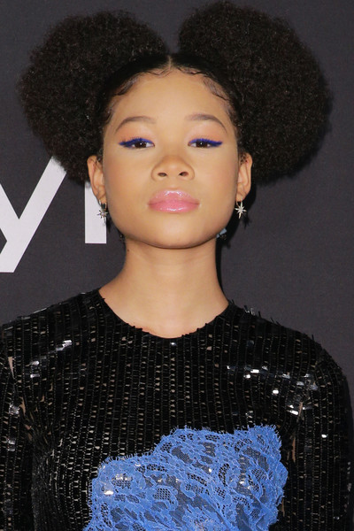 Storm Reid Afro Puff [hair,hairstyle,afro,beauty,fashion,jheri curl,black hair,lip,s-curl,arrivals,storm reid,instyle awards,the getty center,los angeles,california]