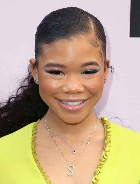 Storm Reid Ponytail [hair,face,eyebrow,hairstyle,forehead,lip,black hair,chin,beauty,nose,storm reid,beverly hills,california,beverly wilshire four seasons hotel,essence black women in hollywood awards luncheon,storm reid,mixed-ish,hollywood,beauty,beverly hills,essence,celebrity,livingly media]